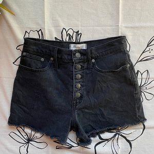 Madewell High Rise Button Fly Black Denim Shorts